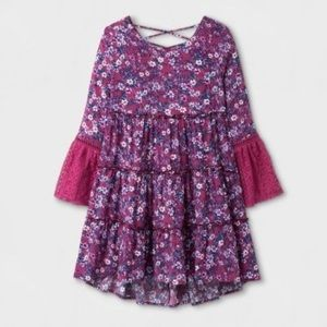 Art Class boho tiered floral long sleeve dress 10Y